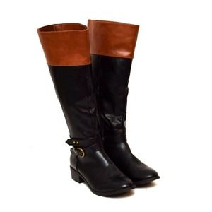Rampage Riding Boots Black Brown Knee High Sz 6